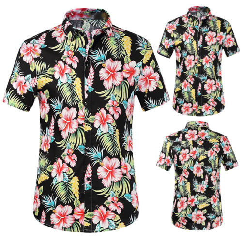 7b8043043f0f66 2018 New Men Floral Print Shirts Tops Summer Fashion Casual Short Sleeve  Hawaiian Beach Shirt Plus Size S-2XL