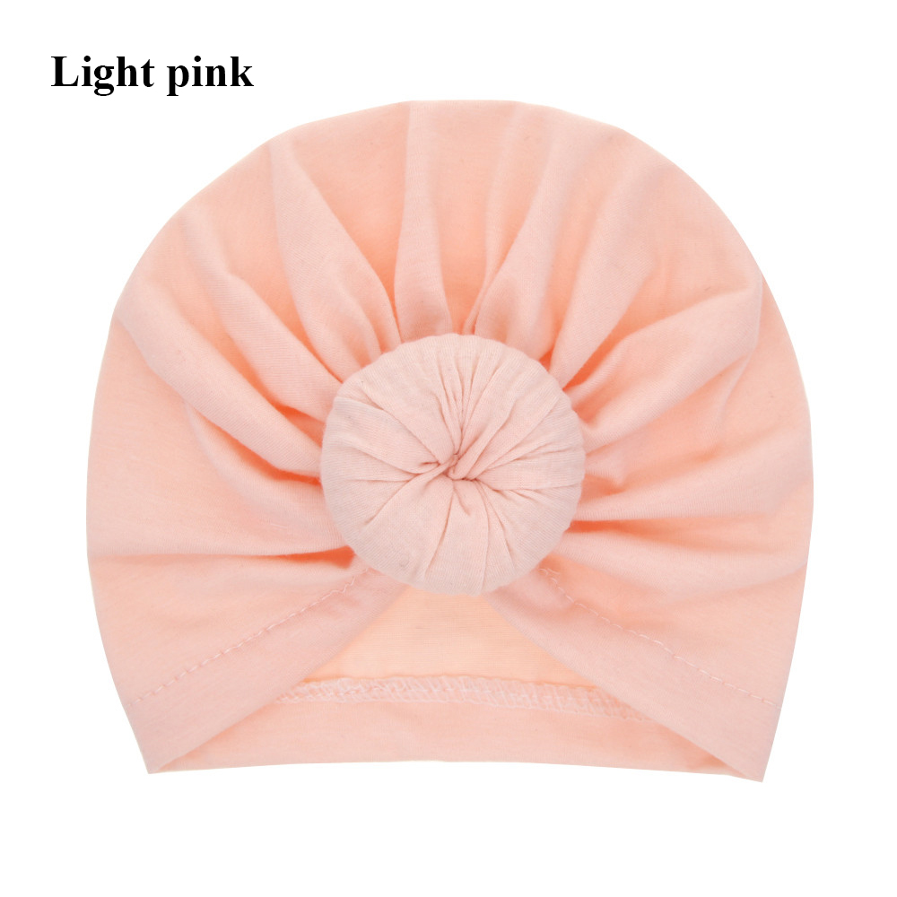 Cute Solid Color Cotton Knotted Turban   Skullies   &   Beanies   Hat For 0-6 Years Kids Boy Girls Winter Warm Caps Wide Headwrap Hats