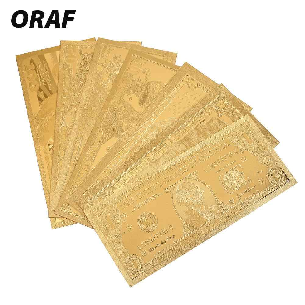 Gold 7PCS/Set Gifts Fake Money Collection High Quality Decoration Coin Souvenir USA Banknotes Realistic Commemorative Notes