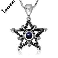 Tassina טרנדי רטרו אופנה קסם מסתורי אבן חול כחול חמש תליון כוכב מחומש שרשרת תליון לתכשיטי גברים TNSP427