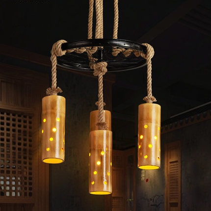 Retro Loft Style Rope Bamboo Droplight Creative Iron Vintage Pendant Light Fixtures Dining Room LED Hanging Lamp Home Lighting retro loft style rope bamboo droplight creative iron vintage pendant light fixtures dining room led hanging lamp home lighting