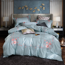 Luxury Blue Purple Pink Red 80S Egyptian Cotton Flowers Embroidery Palace Bedding Set Duvet Cover Bed sheet/Linen Pillowcases