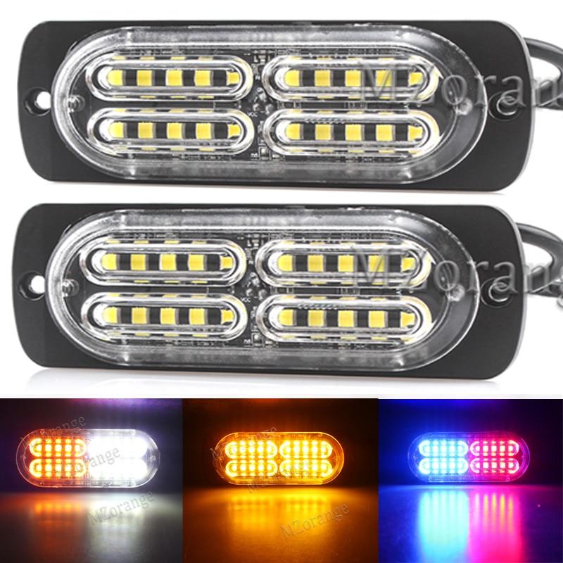 2/4/6/8Pcs Ultra-thin High Power Waterproof Strobe Light 12V-24V 20 LED Car Truck Emergency Side Warning Flashing