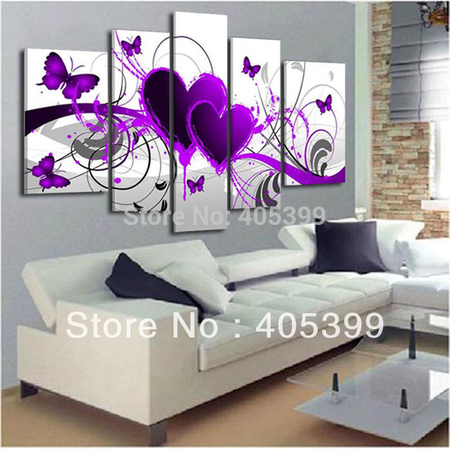 5pcs Purple Heart Design  !100% Handmade Modern  Abstract  Oil Painting On Canvas ,Wedding House Decoration Wall Art  JYJHS004-U
