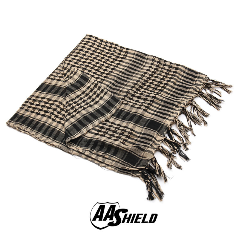 AA Shield Military Arab Lightweight Scarf Desert Tactical Shemagh Army KeffIyeh Outdoor Scarf Multiple Color  Tan promoting social change in the arab gulf