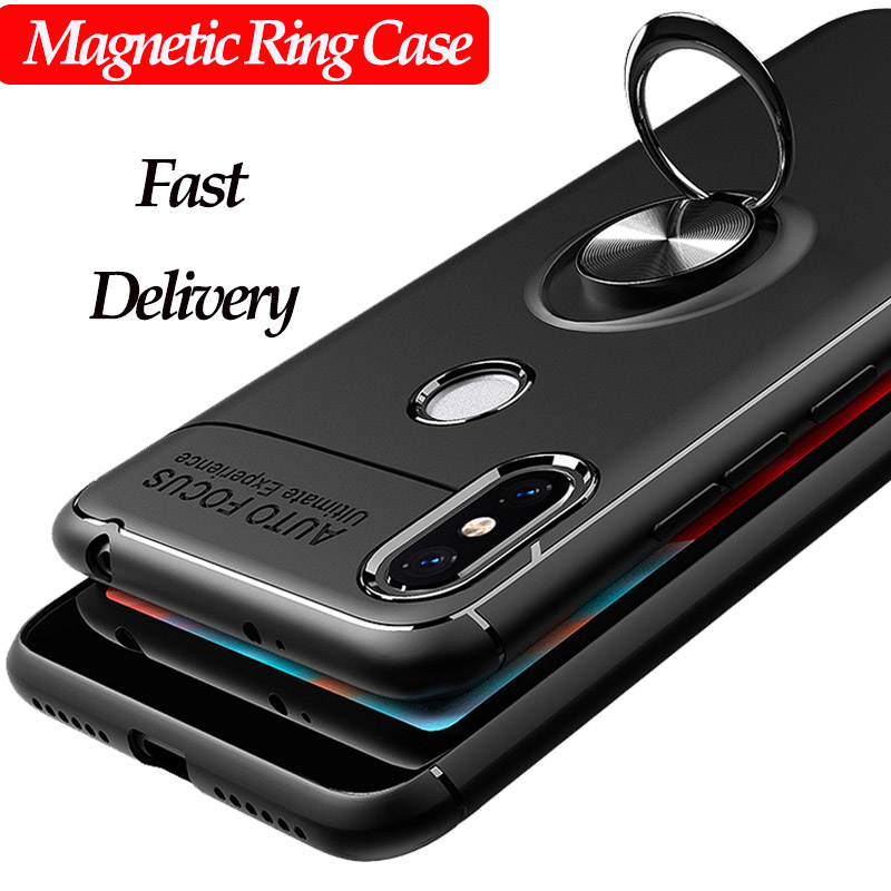 Magnetic Phone Holder Case on For Xiaomi Redmi Note 5 7 Mi 9T Pro Note 4X 4 Case Ring Stand Cover Silicone Back Protector Case-in Fitted Cases from Cellphones & Telecommunications
