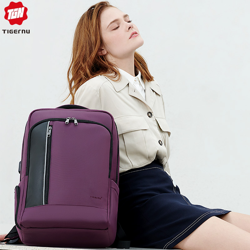 Bagaj ve Çantalar'ten Sırt Çantaları'de Tigernu 15.6 Anti Hırsızlık Sırt Çantası Kadın USB Geri Çantası Okul Seyahat gençler için sırt çantası Sırt Çantası'da  Grup 1