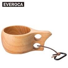 1pc Finland Kuksa Portable Coffee Mug Rubber Wood Handle Two Hole Cowhide Rope Hook Juice Milk
