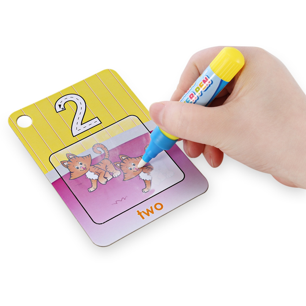26pcs Children Cartoon English Numbers Learning Magic Water Drawing Cardboard Painting T ...