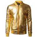 New Trend Metallic Gold Bomber Jacket Men/Women Veste Homme 2016 Night Club Fashion Slim Fit Zipper Baseball Varsity Jacket