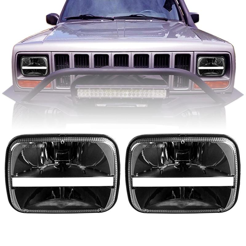 5X7 inch H4 High/Low beam DRL Turn signal 7x6 inch Rectangular LED Headlight for Jeep Wrangler YJ Cherokee XJ Trucks