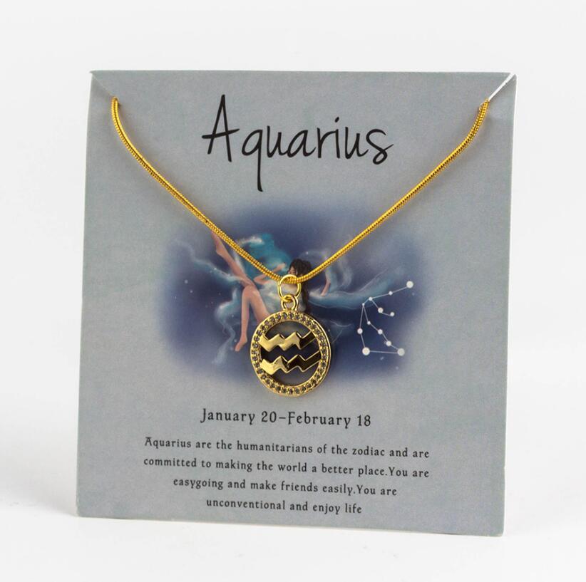 Ожерелье с подвеской в виде животных 12 созвездий для женщин, чокер для пар, массивная цепочка, ожерелье золотого цвета, Знак зодиака с коробкой для карт - Окраска металла: 9