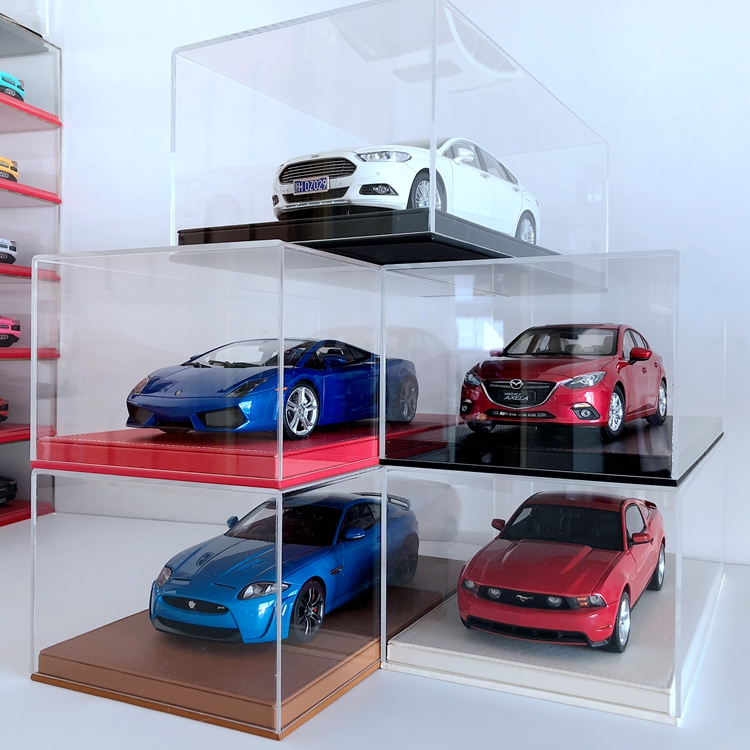 1:18 toy car model display box dust cover leather base acrylic material show box NOT including car