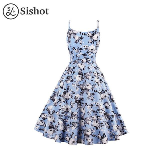 91f04c383959 Sishot women vintage dresses 2017 summer pink floral print sleeveless cute  blue knee length a line spaghetti straps retrodress