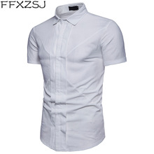 Mens Hipster Double Breasted Shirt 2018 Brand New Short Sleeve Dress Men Casual Slim Fit White Camisa Masculina xxxl