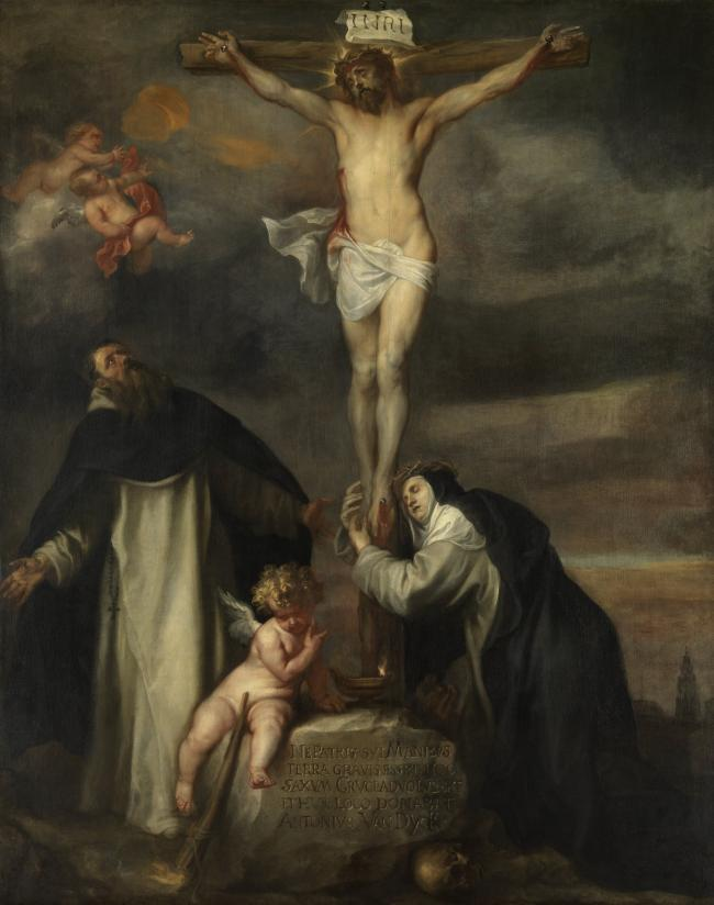 wholesale painting Anthony van Dyck Christ at the cross with St Catharina of Siena St Dominicus
