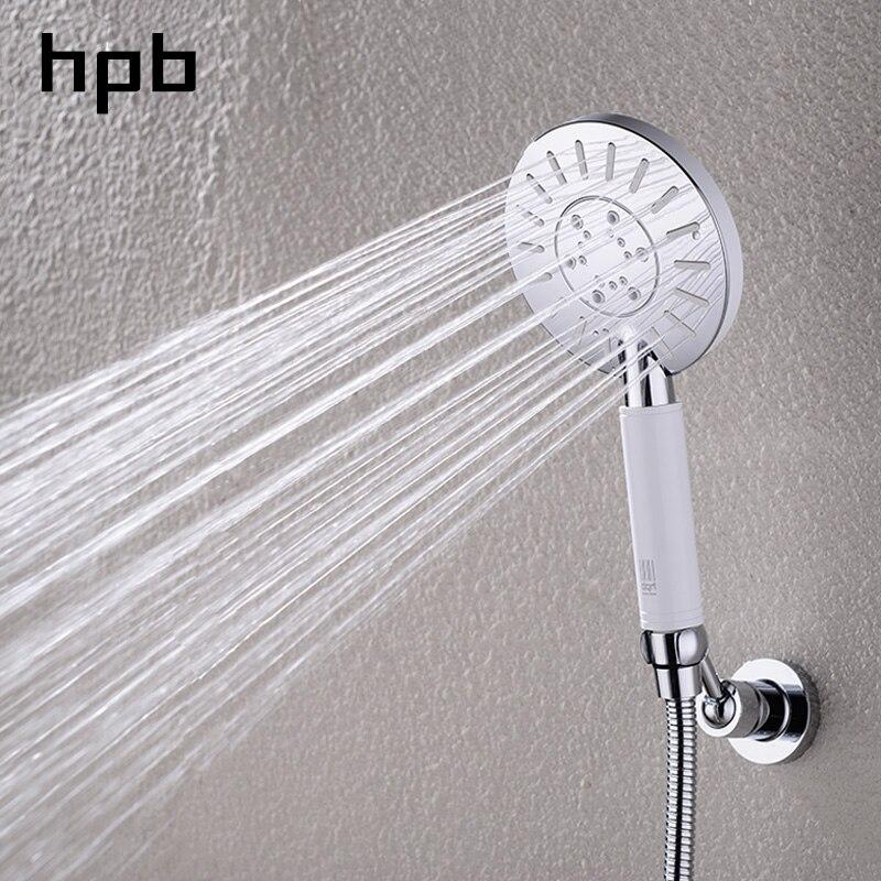 HPB ABS Three function Water Saving Round Bathroom Shower Head Booster Showerhead High Pressure Handheld Hand Shower HP7113