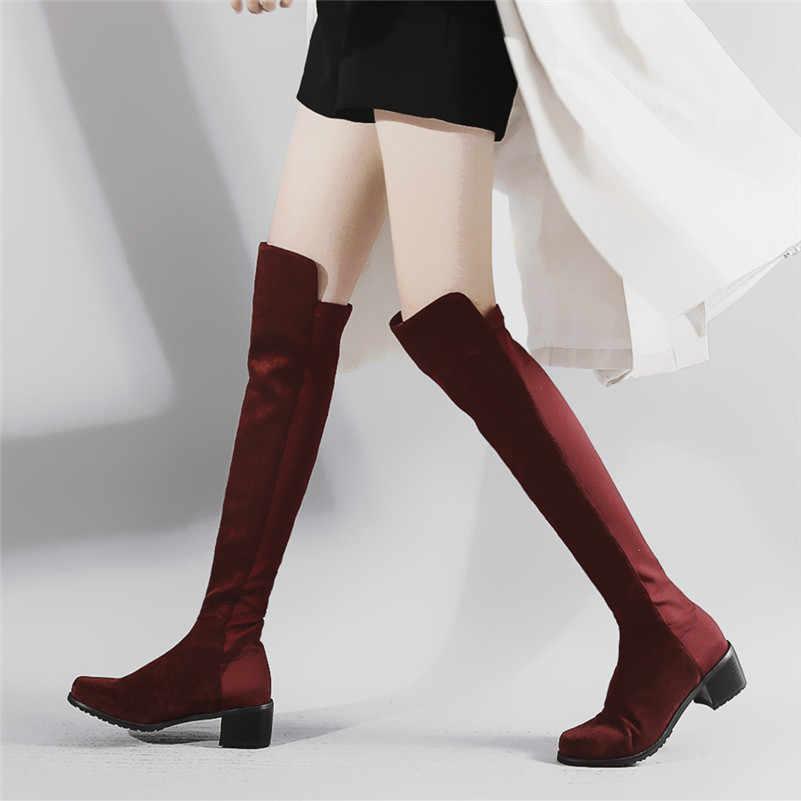 FEDONAS 2020 Vintage Süet Kadın Diz Yüksek Çizmeler Yuvarlak Ayak Yüksek Topuklu parti ayakkabıları Kadın Sıcak binici çizmeleri Temel Uzun Çizmeler