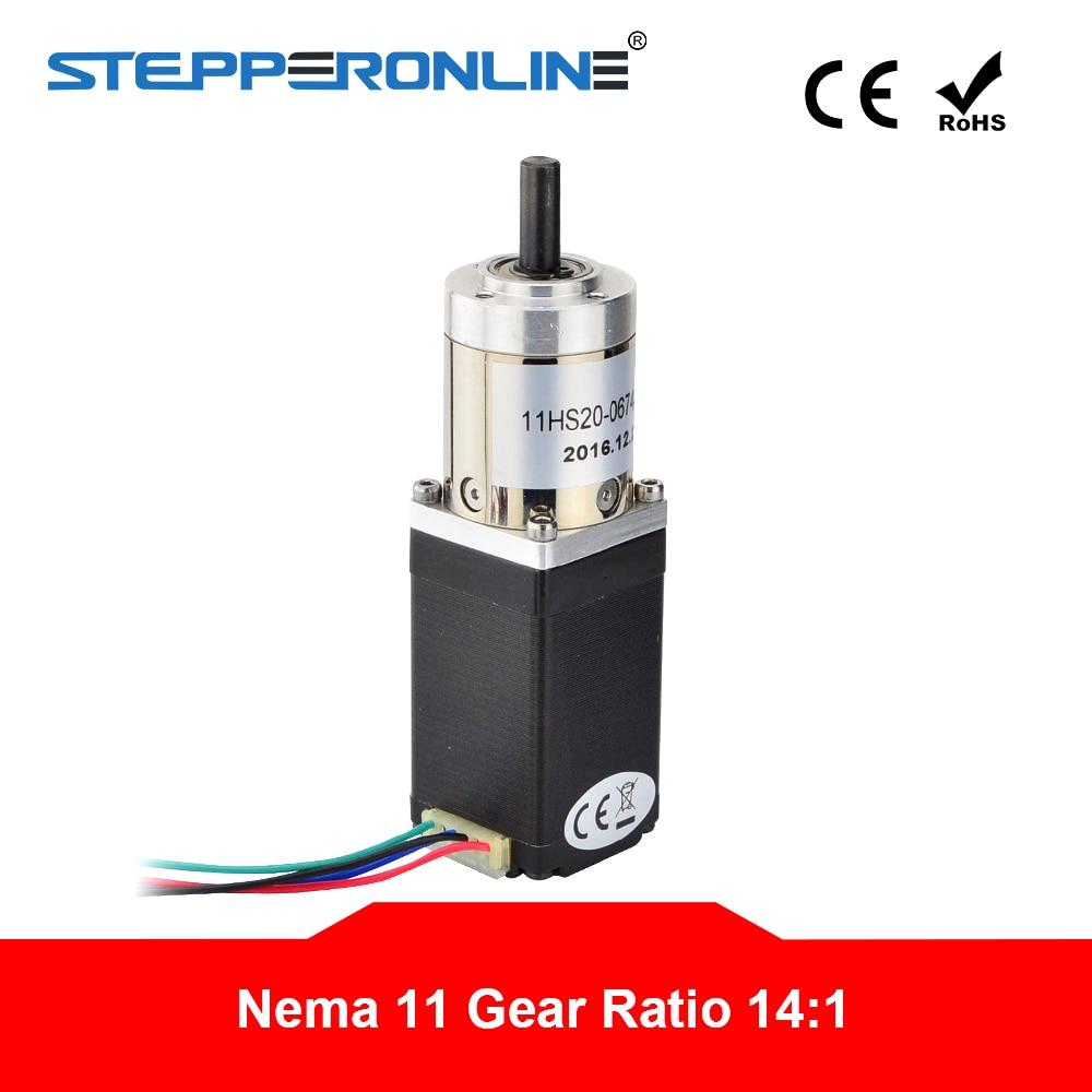 14 1 Planetary Gearbox Nema 11 Stepper Motor 0 67A 4 lead for DIY CNC Robot