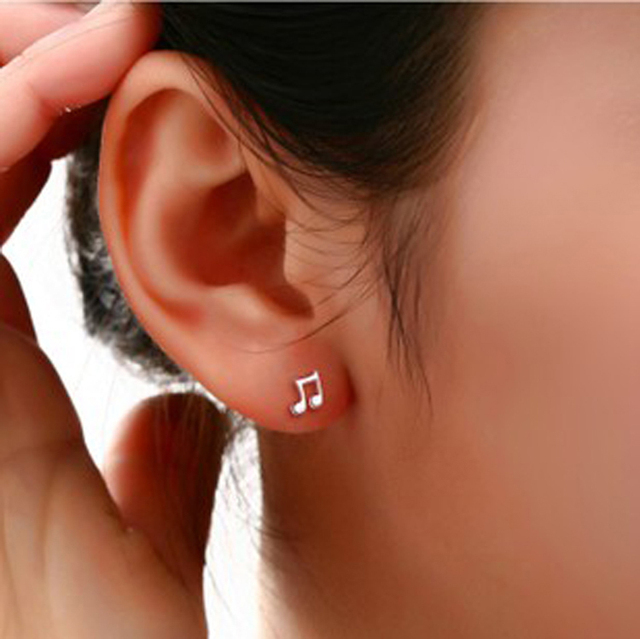 Fashion Cute Lovely Musical Note Silver Plated Stud Earrings For Women S Earring Jewelry