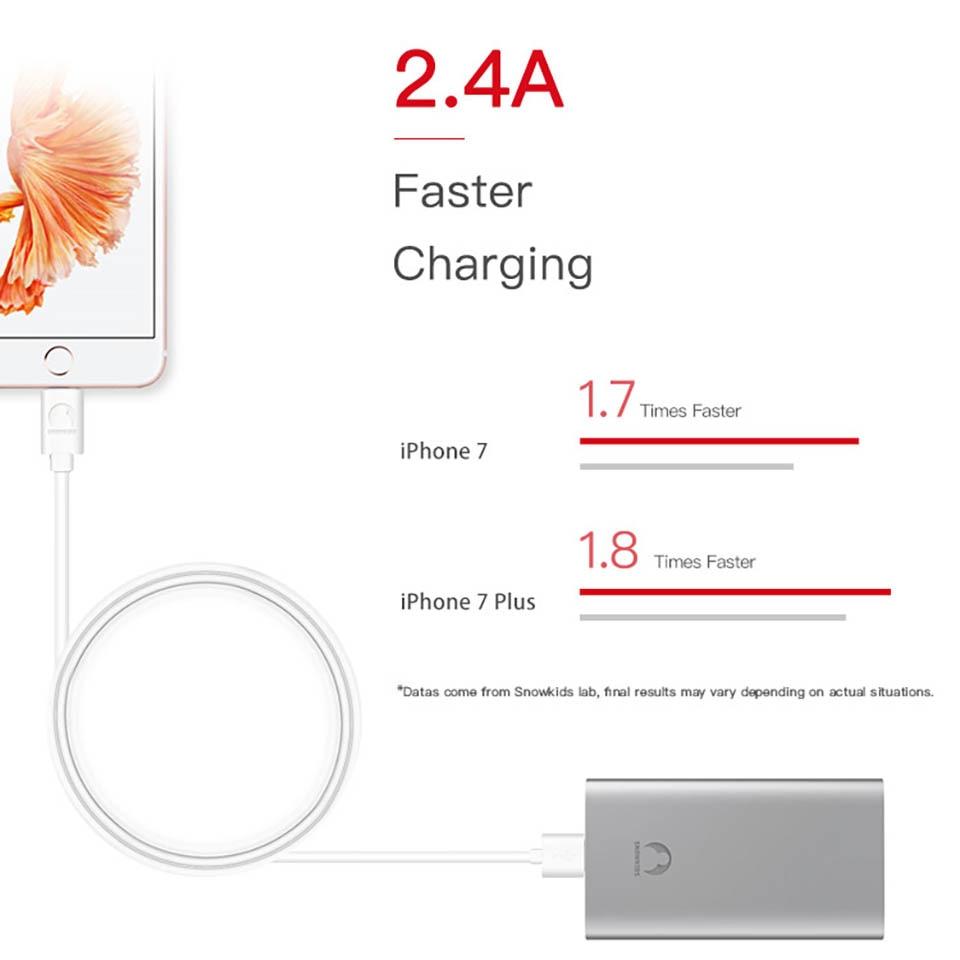 Snowkids for MFi Lightning Cable USB Cable 2pcs / lot for iPhone 11 X - მობილური ტელეფონი ნაწილები და აქსესუარები - ფოტო 4