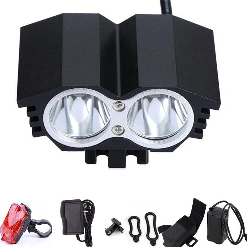 5000Lm 2X CREE XM-L U2 LED Front Head Cycling Bike Light Headlight Headlamp 6400mAh Battery Charger  Flashlight for Bicycle 18000 lumens bike headlamp flashlight 9x cree xm l2 led bicycle light cycling helmet headlight 18650 battery pack charger