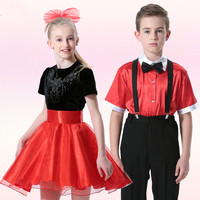 European High Grade Children Performance Clothing Handsome Boy Bowtie Chorus Suit Exquisite Floral Crystal Girls Party