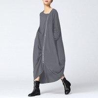 2018 ZANZEA Women Dresses Winter Autumn Full Sleeve Loose Solid Vestidos Plus Size S 5XL Kaftan