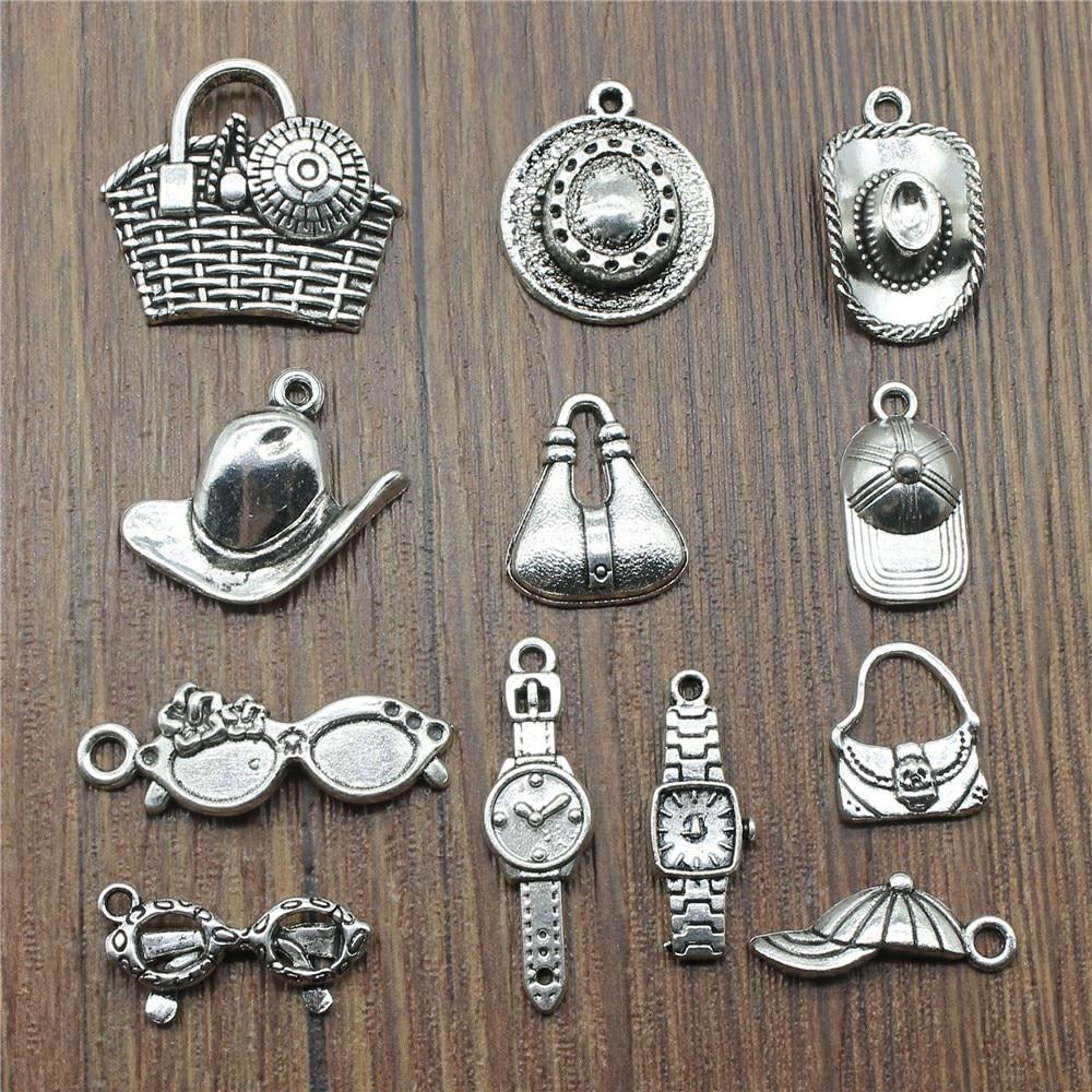 15 Teile/los Hut Charms Sonnenbrille Charms Schmuck, Der Uhr Charms Für Armband, Der Antike Silber Farbe