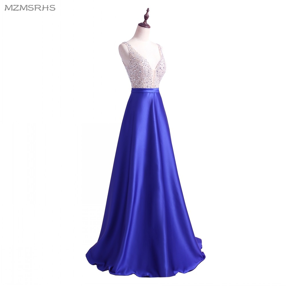 2018 vestidos de baile una línea vestidos de fiesta sexy cuello en v - Vestidos para ocasiones especiales - foto 3