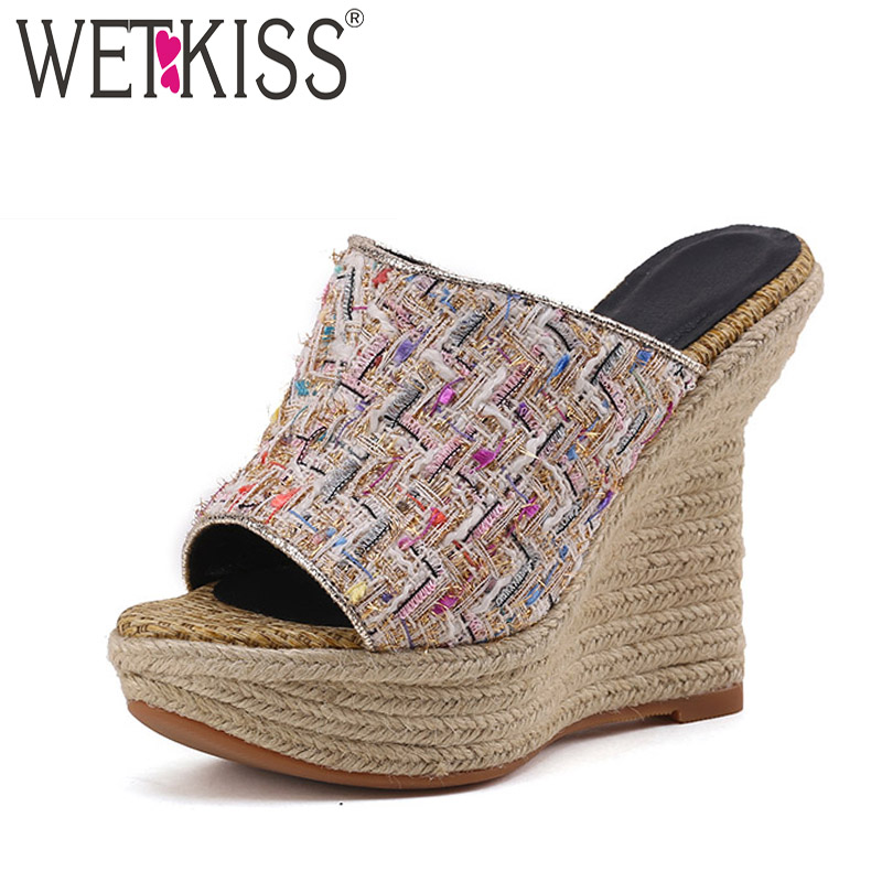 WETKISS High Heels Slippers Women Peep Toe Footwear Small Fragrance Slides Shoes Female Wedges Straw Weave Platform Shoes WomanWETKISS High Heels Slippers Women Peep Toe Footwear Small Fragrance Slides Shoes Female Wedges Straw Weave Platform Shoes Woman
