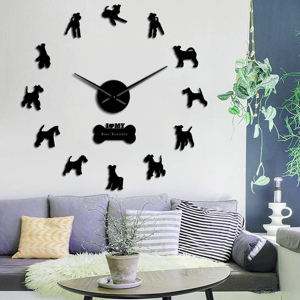 Wire Fox Terrier Dog Silent Quartz DIY Wall Clock Doggie Silhouette Gift For Dog Lovers Mirror Surface Clock Watch Pet Shop Deco