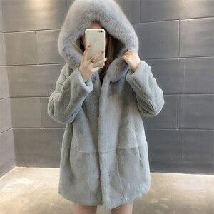 Image 2 - 2019 Yeni Doğal Rex Tavşan Kürk Palto Kadınlar Boy Kapşonlu Kış Gerçek Kürk Ceketler Artı Boyutu