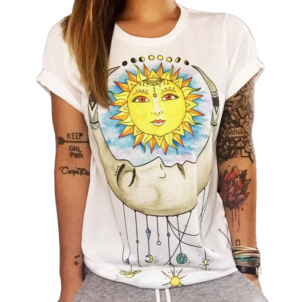 Womens Casual Sleeveless Shirts Moon and Sun Graphic Print Tee Shirts Summer Loose Cami O Neck Crop Tops Blouse for Women