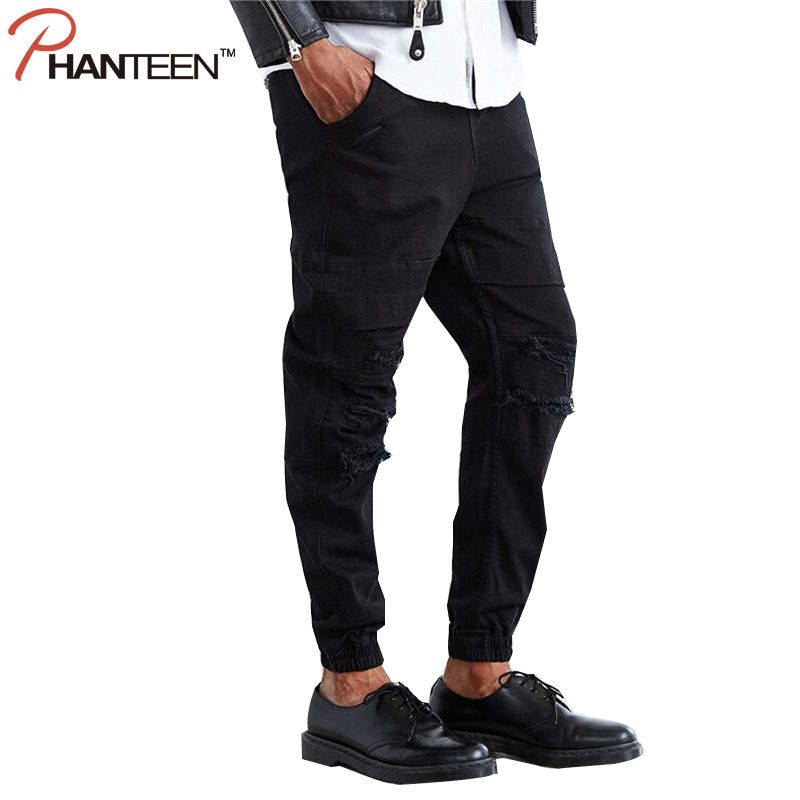 Phanteen Ripped Men Denim Jeans Dropped Crotch Joggers Casual Relaxed Jeans Hiphop Fashion Hi street Man