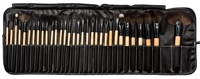 GUJHUI 32pcs Classical Pro Makeup Brushes Set Light Yellow Make Up Brushes Set With Leather Makeup