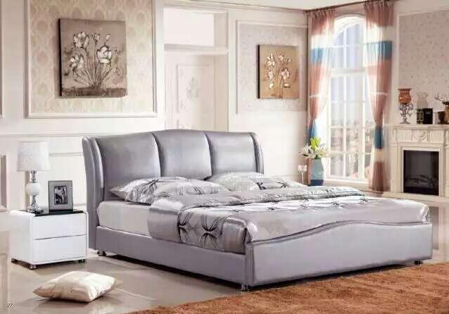 Contemporáneo simple cama de cuero muebles de dormitorio moderno hecho en China
