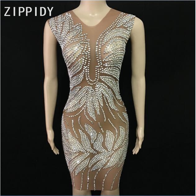 Vestido de malla sin mangas de piedras de plata brillante vestido de diamantes para mujer vestido de fiesta de cumpleaños de bailarina de discoteca para mujer vestido Sexy-in Vestidos from Ropa de mujer    1
