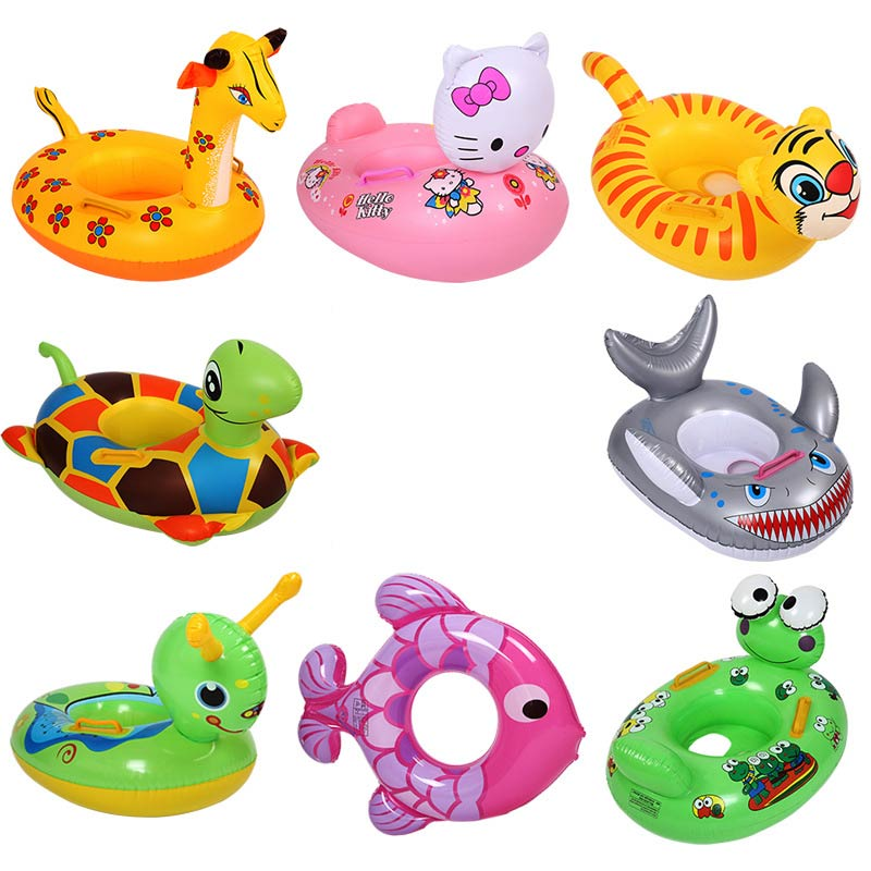 Cute Cartoon Animal Seat Inflatable Boats Baby Swimming Cirle Kids Swimming Pool Accessories 1- 6 Years Old Swim Sport Lifebuoy