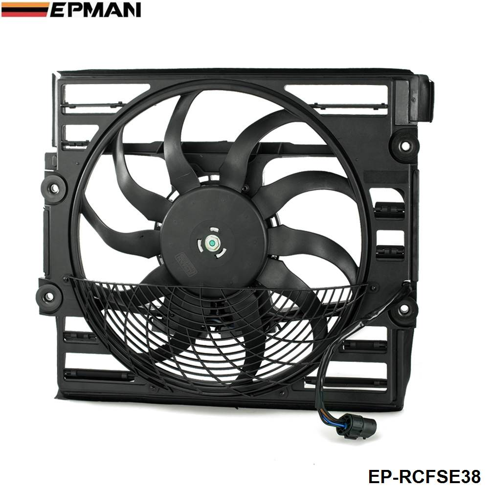 EPMAN -Replacement Cooling Radiator Fan Assembly Fit For BMW E38 1996-1998 7-Series 740 750 EP-RCFSE38 computador cooling fan replacement for msi twin frozr ii r7770 hd 7770 n460 n560 gtx graphics video card fans pld08010s12hh