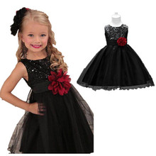 Girl Dress Bebe Children Clothing Wedding Party Dresses First Birthday Ball Gown Princess Infant Sequins Christening WM-086
