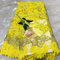 Unique New african guipure lace yellow water soluble chemical lace fabric,high quality african cord lace with stones