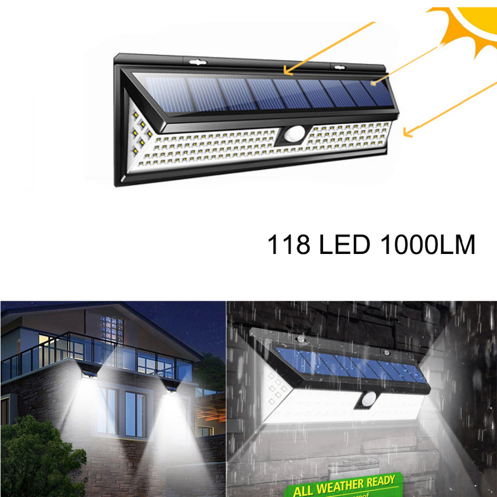 1000LM 118LED Solar luz al aire libre patio cerca de montaje en pared lámpara Solar del jardín impermeable PIR Sensor de movimiento de luz de la pared