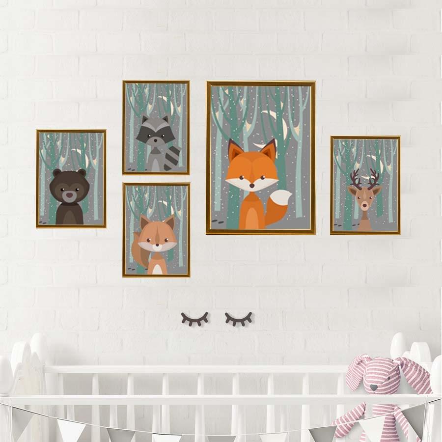Woodland Fox Deer Animals Cartoon Poster For Kids Nursery Playroom Wall Art Prints Canvas Painting Bedroom Home Decor Art Murals