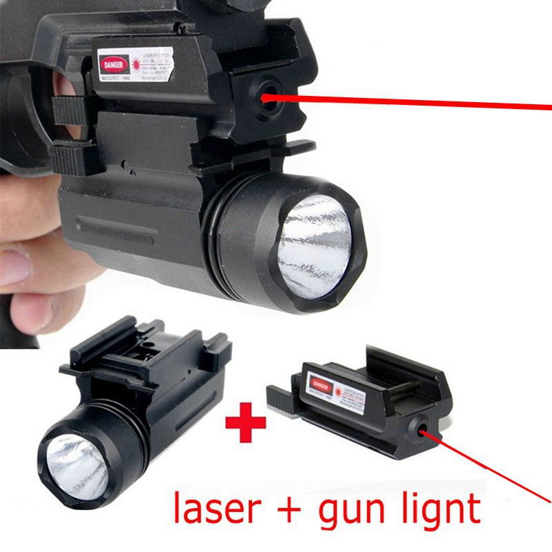 Red Dot Laser Sight LED Flashlight Tactical Picatinny Weaver Rail Mount Hunting Airsoft For Glock 17 19 22 23 31 32 Handgun in Lasers from Sports Entertainment