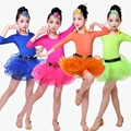 Child Children Girl Ballet Dance Dress For Girls Cha-Cha Long Sleeve Latin Dress Ballet Dancing Dancewear Kid Latin Costume