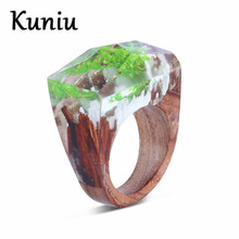 Фотография New Arrivals Green Resin Wood rings For women magic forest ring mens jewelry Dropshipping