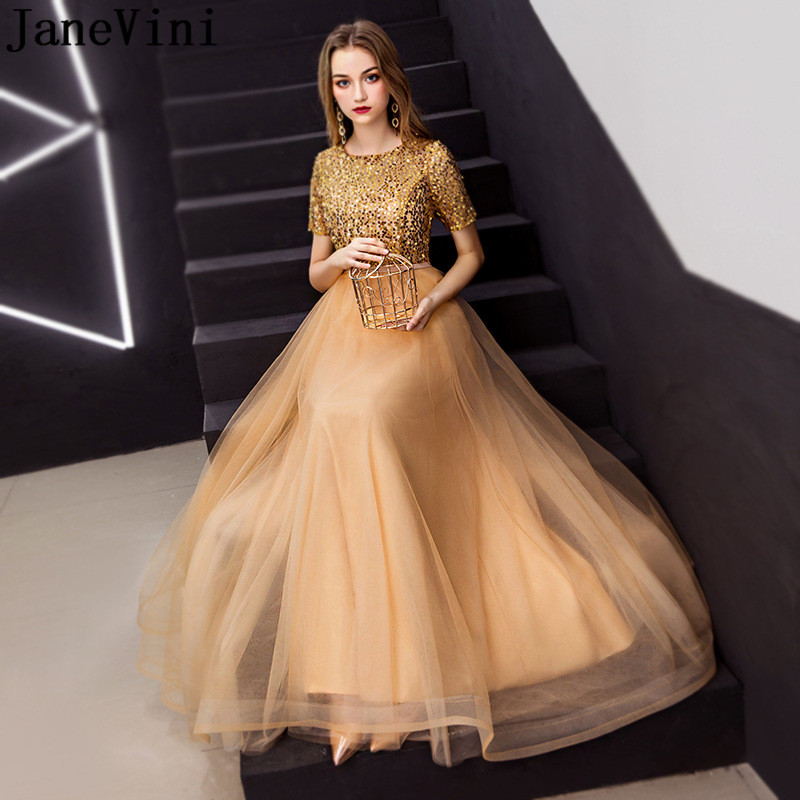 JaneVini Luxury Gold Prom Dress with Sequins Short Sleeve Tulle Skirt Bridesmaid Dresses Long A Line