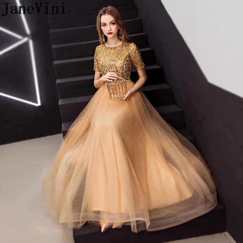 JaneVini роскошное Золотое платье для выпускного вечера с блестками с коротким рукавом Тюлевая юбка длинные платья подружек невесты трапециевидной формы женские вечерние платья
