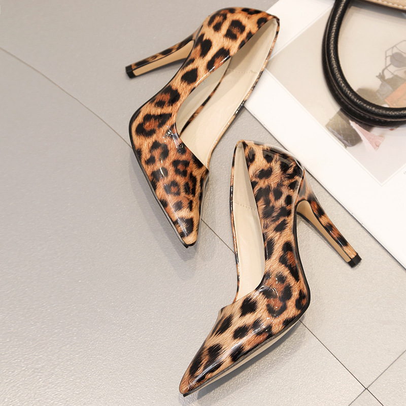 2019 New Spring Sexy Leopard Women Shoes High Heels 10CM Elegant Office Pumps Shoes Women Animal Print Pointed Toe Singles Shoes
